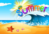 Summer at the beach — Stock Vector