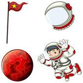 An astronaut, a helmet, a banner and a planet — Stock Vector