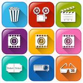 Movie marathon icons — Stock Vector