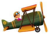 A young man riding on a vintage plane — Stock Vector