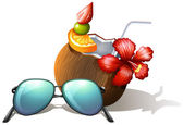 A refreshing drink and a sunglasses for a beach outing — Stockvector