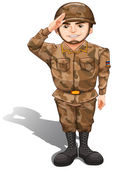 A soldier demonstrating a hand salute — Stock Vector