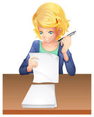 A woman taking an exam — Stock Vector