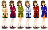 Female in different shades of a blazer — Vector de stock