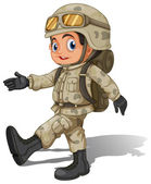 A young smiling soldier — Stock Vector