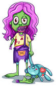 A young female zombie — Stock Vector