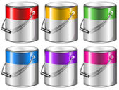 Containers with paint — Stock Vector