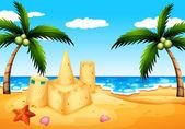 Plaża z palmami kokosowymi i zamku z piasku — Wektor stockowy