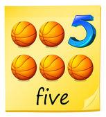 Five balls — Stock Vector