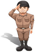 A brave soldier doing a hand salute — Stock Vector