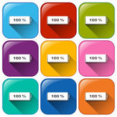 Battery icons — Stock Vector