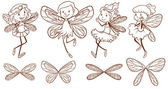 Sketch of simple fairies — Stock Vector