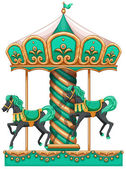 A green merry-go-round — Stock Vector