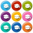 Graduation cap icons — Stock Vector #50967553