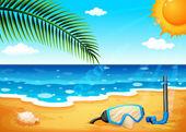 A beach with a shinning sun — Stok Vektör