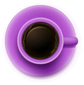 A topview of a purple cup with coffee — Stock Vector