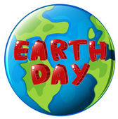 A globe with Earth day label — Stock Vector