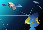 Satellites near Earth — Vector de stock
