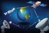 Satellites surrounding the planet Earth — ストックベクタ