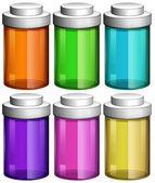 Colourful transparent bottles — Stock Vector