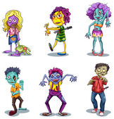Set of scary zombies — Stock Vector