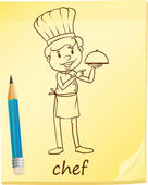 A simple sketch of a chef — Stock Vector