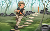 A soldier in the battlefield — Stock Vector