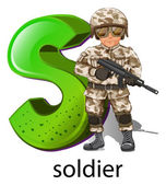 A letter S for soldier — Stock Vector
