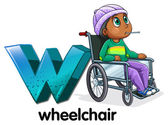 A letter W for wheelchair — Stock Vector