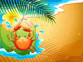 A beach with a refreshing coconut drink and a crab — Stock Vector