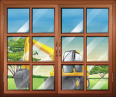 A window with a view of the bulldozer outside — Stock Vector