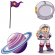 An astronaut, a planet, a banner and a helmet — Stock Vector #51553041