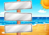 Empty signboards at the beach — Stock Vector