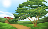 A pathway going to the houses — Stock Vector