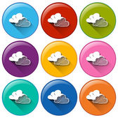 Icons with clouds — Stock Vector
