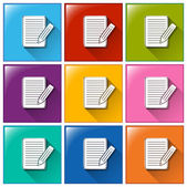 иконки с бумаги и карандаши — Cтоковый вектор