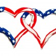 Stock Photo: American hearts on white background. Great for Independence Day brochures and advertising.