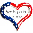 Stock Photo: American heart on white background. Great for Independence Day brochures and advertising.