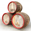 Stock Photo: Barrels on white background.