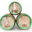 Three vintage beer barrels. — Stock Photo