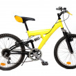 Stock Photo: Yellow Mountain bicycle on white background.