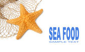Fishing net with starfish and easy removable text. — Stock Photo