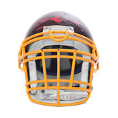 Old scratched football helmet on a white background. — Stock Photo