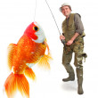 The fisherman with his big Goldfish. Successful business concept. — Stock Photo