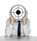 Unsuccessful manager with shooting target — Stock Photo