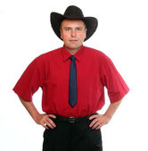 Senior manager with traditional cowboy's hat — Stock Photo