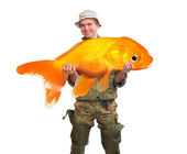 The fisherman with big fish — Stock Photo