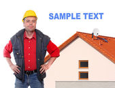 Building contractor and family house. Picture with space for your text. — Stock Photo