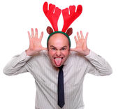 Crazy businessman with reindeer attire. Funny image great for christmas and new year greeting card. — Stock Photo