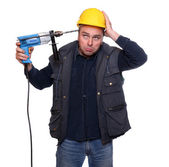 Frustrated worker trying to suicide on white background. Stress metaphor. — Stock Photo